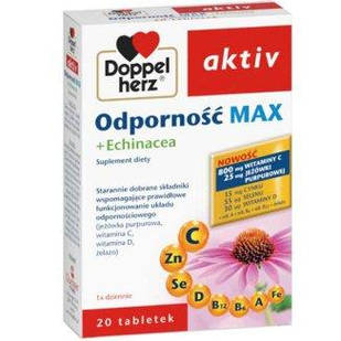 Doppelherz Immunity Max с эхинацеей, вит С (800 мг), вит D (30 мкг) цинк (15 мг), селен (55 мкг), витаминами B