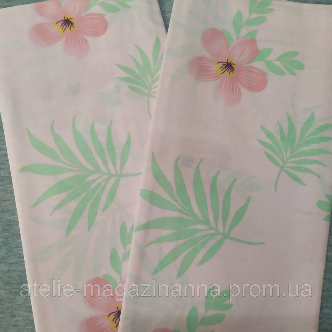 Наволочка на подушку 70*70 розовая, цветы