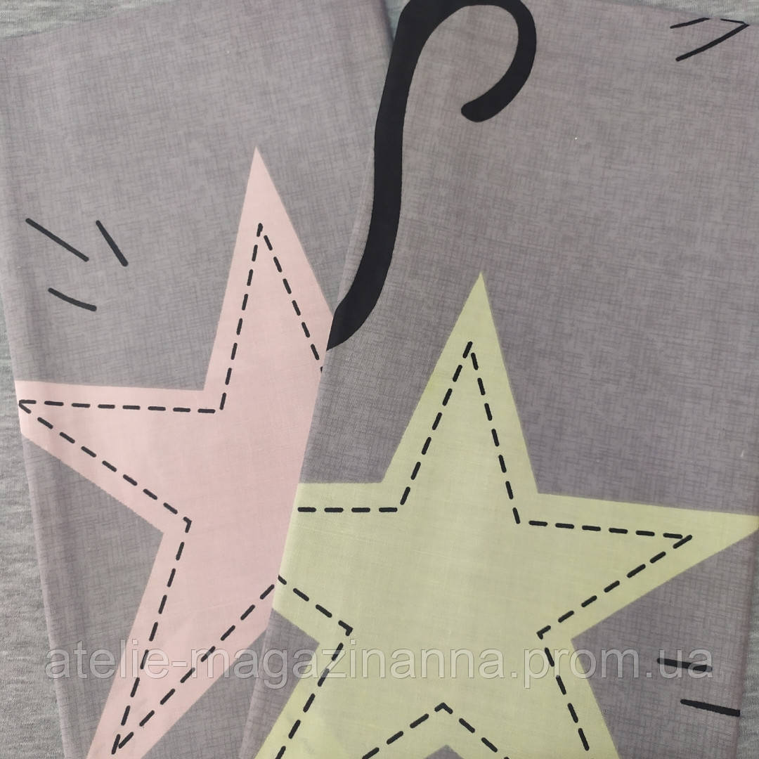 Наволочка  на подушку 70*70 серая в звёзды