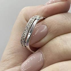 Серебряное кольцо волна с камнями