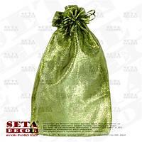 Оливковый подарочный мешочек 16х29(23) см блестящий из органзы, полупрозрачный