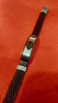 Тёмные браслеты для мужчин из кожи с нержавеющей сталью оптом 229