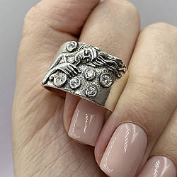 Серебряное кольцо с женским силуэтом