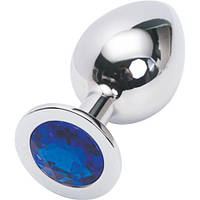 Анальная пробка Silver plug large цвет кристалла синий