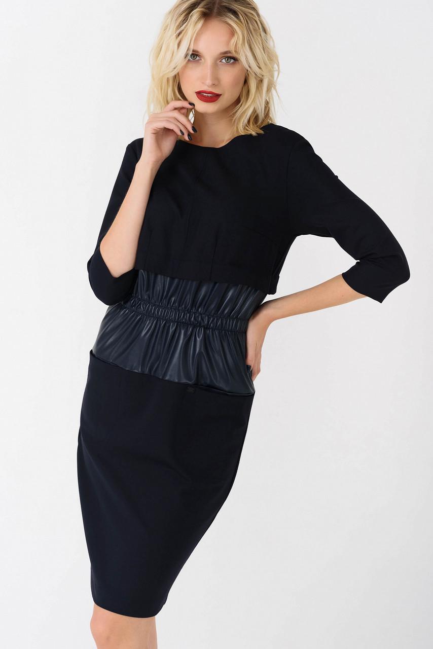 Платье синее со вставками эко-кожи Modna KAZKA
