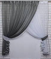 """Кухонный комплект 330х170см, шторки с подвязками """"Дует"""" Цвет белый с темно серым. № 060к 50-357, фото 1"""