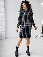 Черное удобное платье свободного пошива из теплой ангоры с карманами