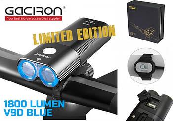 Велосипедный фонарь GACIRON V9D-1800 + Пульт + Power Bank (1800LM, 6700mAh, Аккумулятор 2*18650, USB, IPX6)