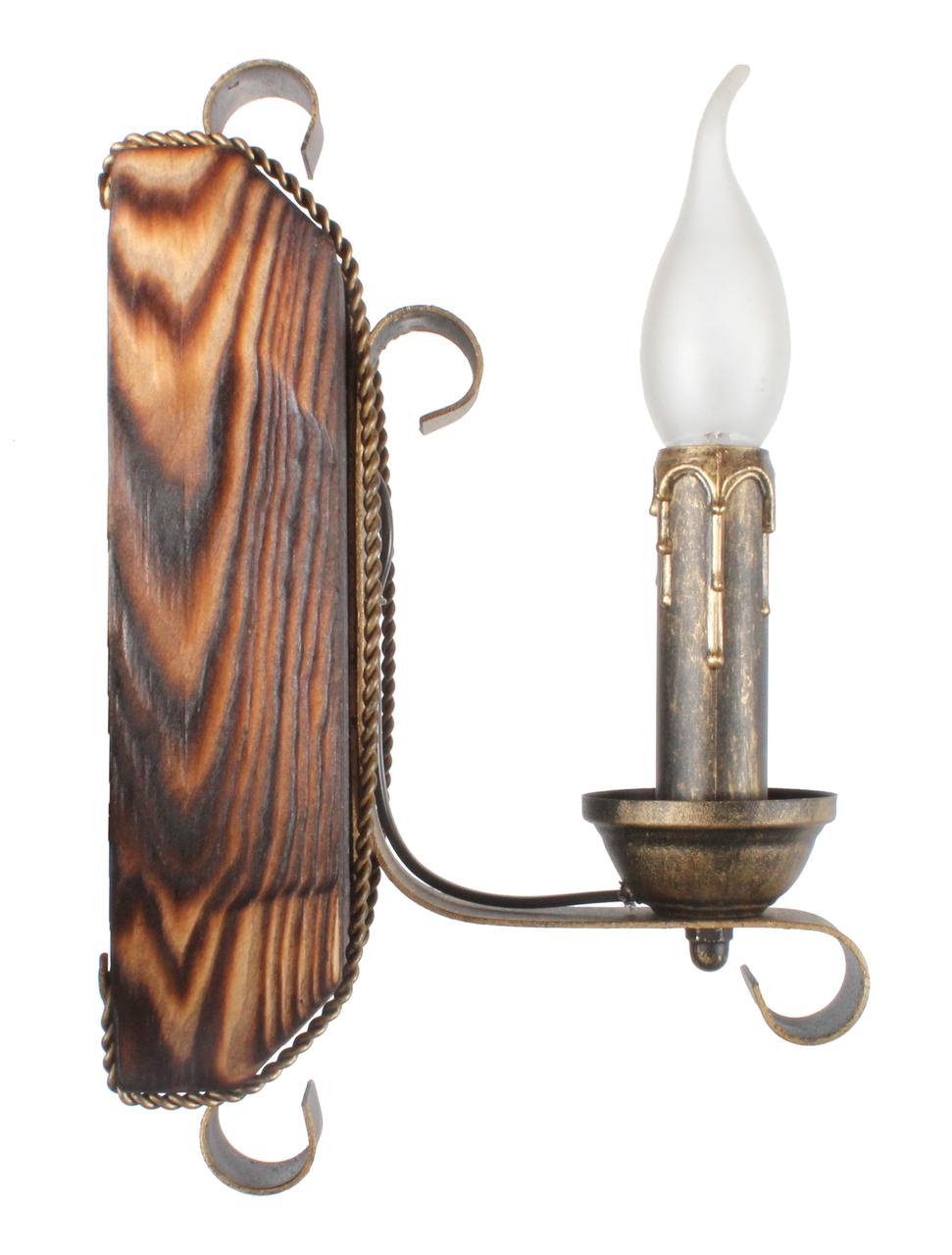 Бра из дерева с элементами декора одна свеча 670321
