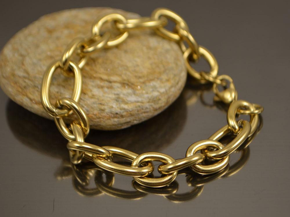 Браслет Цепь якорная с разными звеньями 21см, нерж сталь золото