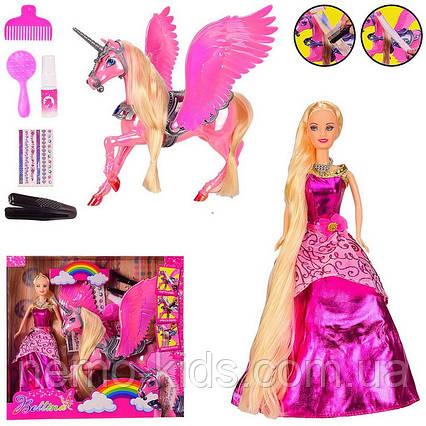 Кукла с единорогом, краски и плойка, пегас, Барби с длинными волосами