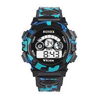 Часы наручные детские электронные, цифровые для мальчика Honhx черные, голубые, камуфляж, с будильником