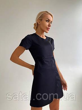 """Медицинский халат (платье) """"Милка """". Черный. Рукав короткий. Satal, фото 2"""