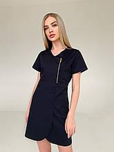 """Медицинский халат (платье) """"Милка """". Черный. Рукав короткий. Satal"""
