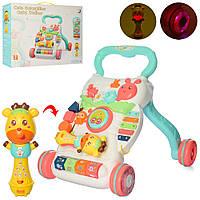 Игровой центр и каталка-ходунки толкатель с музыкой для малышей 2в1 A2018-7