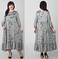 Легкое свободное платье большого размера,серое 50 52 54 56 58 60