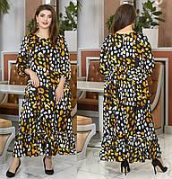 Свободное шелковое платье большого размера 50 52 54 56 58 60