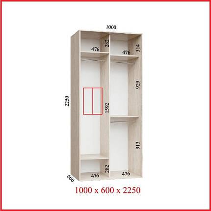 Шкаф купе УЛЬТРА / ширина-1000/ глубина-600/ высота-2250 (Феникс), фото 2