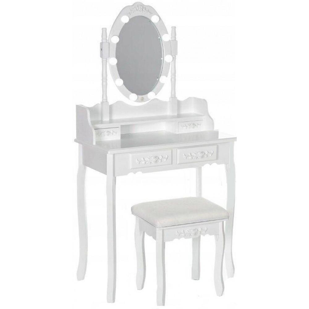 Стіл косметичний з дзеркалом і стільцем Bonro В-011L + LED-підсвічування туалетний столик