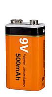 Аккумулятор Крона 9V вольт 6F22 литий-ионный 500 mAh