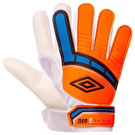 Перчатки футбольные юниорские оранжево-синие FB-838
