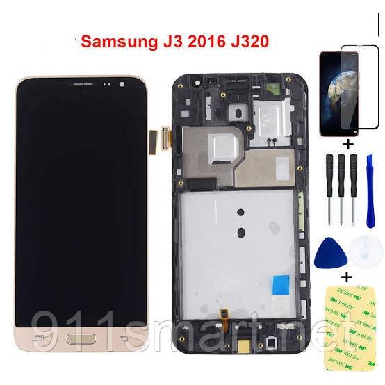 Модуль, LCD дисплей з рамкою Samsung Galaxy J3 2016 чорний