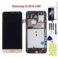 Модуль, LCD дисплей з рамкою Samsung Galaxy J3 2016 чорний, фото 1