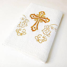 Крижма Lotus вишивка - Білий з золотом 70*140 (16/1) 400 г/м2