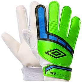 Перчатки для футбола юниорские салатово-синие FB-838, 7