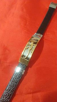 146 Подарок мужчине - Кожаный мужской браслет из натуральной кожи и стали.