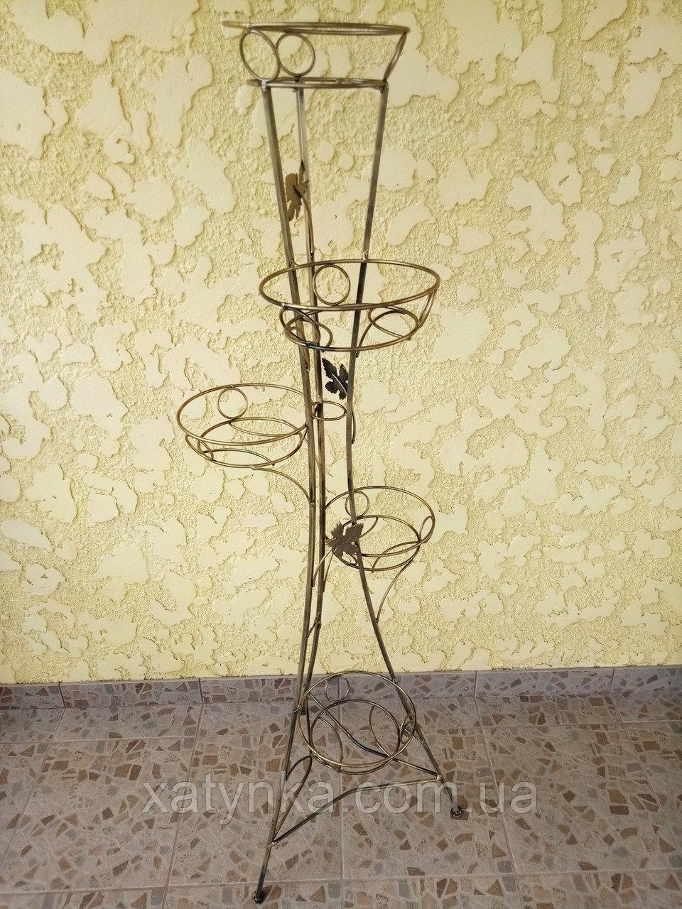 """Подставка кованая для цветов """"Башня"""" на 5 вазона"""