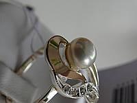 Кольцо серебряное с золотой вставкой и куб.цирконием, фото 1