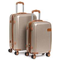 Комплект из двух чемоданов  2в1 ABS-пластик 8387 шампань, фото 1