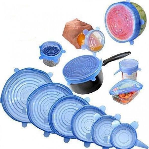 Набор силиконовых крышек, пленок для хранения продуктов Silicon Cap 6 штук