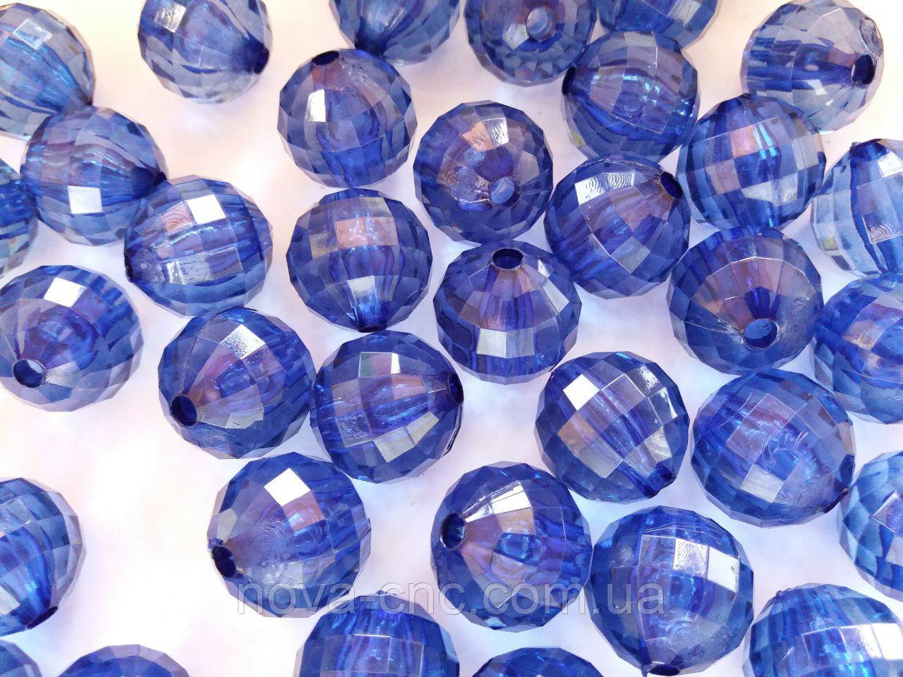 "Бусины ""Шар грани"" синий акрил 8 мм 500 грамм"