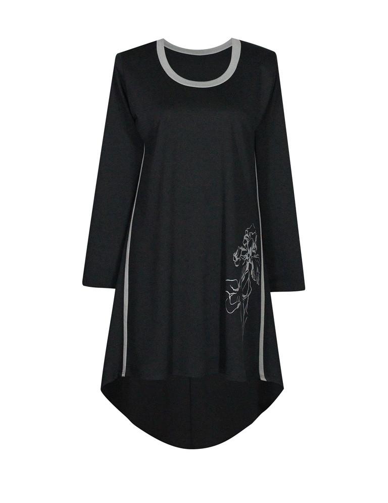 Модное платье с напуском по спине и праздничным принтом ИРИСЫ