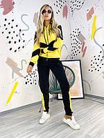 Женский яркий спортивный костюм двунитка. Размер: 46-48. Цвет: хаки, желтый.