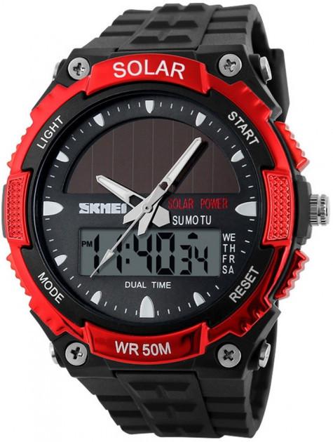 Skmei 1049 красные мужские спортивные часы с солнечной батареей