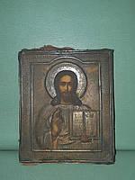 Старинная икона гдь. Вседержитель Иисус Христос 19-век Серебро 84*