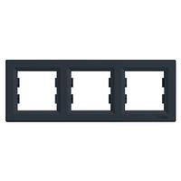Рамка тримісна горизонтальна антрацит Schneider Electric серія Asfora