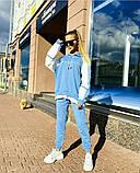 Женский весенний стильный спортивный  костюм со свободным удлиненным батником белый голубой, фото 3