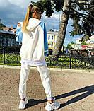 Женский весенний стильный спортивный  костюм со свободным удлиненным батником белый голубой, фото 4