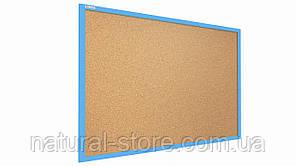 """Пробкова дошка 90х60см в блакитний дерев'яній рамі TM """"ALL boards"""""""