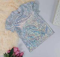 Блестящая детская футболка для девочки СЕРЕБРО, 110-140. Блестящая футболка голограмма для девочки