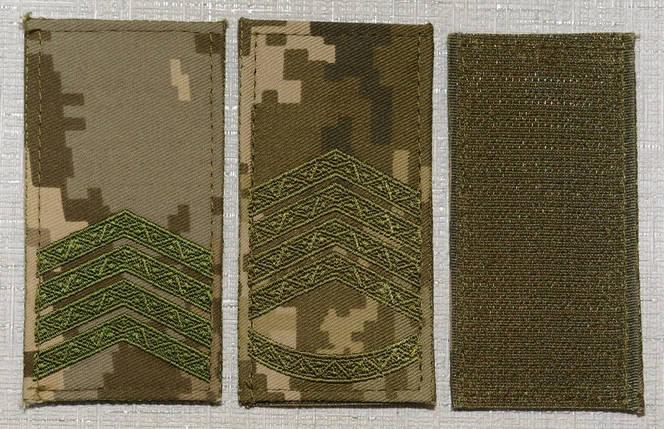 Погони в пікселі на липучці вишиті оливковою ниткою (ДПСУ), фото 2