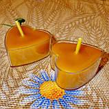 Восковая чайная свеча Коралловая Валентинка 14г в пластиковом прозрачном контейнере, пчелиный воск, фото 2