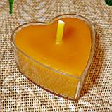 Восковая чайная свеча Коралловая Валентинка 14г в пластиковом прозрачном контейнере, пчелиный воск, фото 3