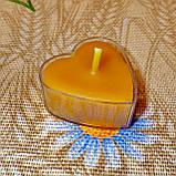Восковая чайная свеча Коралловая Валентинка 14г в пластиковом прозрачном контейнере, пчелиный воск, фото 4