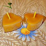 Восковая чайная свеча Коралловая Валентинка 14г в пластиковом прозрачном контейнере, пчелиный воск, фото 5