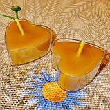 Восковая чайная свеча Коралловая Валентинка 14г в пластиковом прозрачном контейнере, пчелиный воск, фото 6